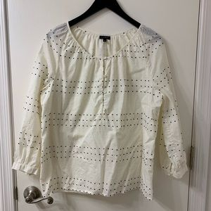 Talbots cream blouse with raised dot embroidery SL